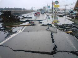 本社前国道45号線被災後写真